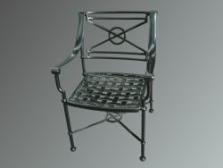 Aluminium garden chair powder coated with a black satin polyester finish