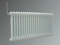 Radiator with white powder coated finish